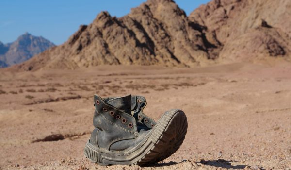 Old black boot in Sinai desert, Egypt